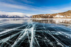 Ice patterns on Lake Baikal. Russia Royalty Free Stock Image