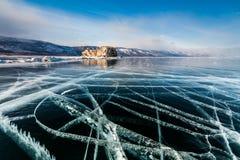 Ice patterns on Lake Baikal. Russia Royalty Free Stock Photos