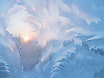 Ice patterns and sun on winter glass. Close up of frozen winter glass texture Stock Image