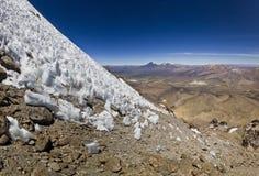 Ice penitentes at altitude 6100m on Sajama Volcano in Bolivia Stock Photos