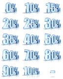 Ice Percent Tags. Complete set of ice percent tags for sales and discounts. Also for the flash animations (loading progress in percent). Ice price tags with stock illustration