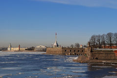 The ice at the Peter and Paul fortress. Royalty Free Stock Photos