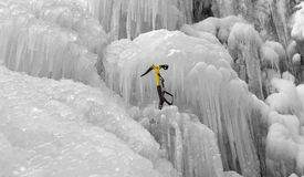 Ice pick on the icefall Stock Images