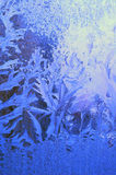 Ice picture. Cold winter, ice on the window draw a wonderful picture Stock Photo