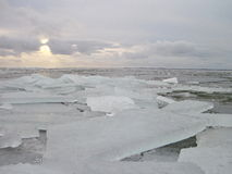 Ice pieces on lake coast in winter Stock Image