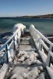Ice pier. Marine winter landscape, ice pier, shore of the Black Sea Stock Image