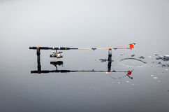 Ice pike fishing composition Royalty Free Stock Photos