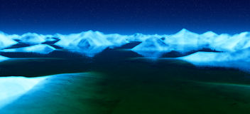 Ice Planet. An icy night under the stars Royalty Free Stock Photos