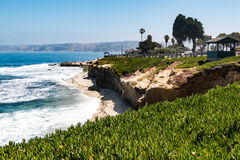 Ice Plants Cliffside at La Jolla Cove with Observation Points Royalty Free Stock Photography