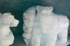 Ice polar bears. Ice sculpted polar bear and ice blocks Stock Photo