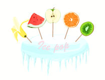 Ice pop vector image. Frozen fruit juice in an ice stand Royalty Free Stock Images