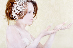 Ice princess woman holding something Royalty Free Stock Photo