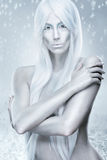 Ice queen - the background frosty, icy, frozen Stock Photography