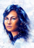 Ice queen - beautiful woman in winter, painting collage. Stock Photography