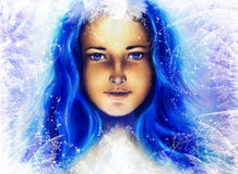 Ice queen - beautiful woman in winter, painting collage. Royalty Free Stock Photos