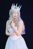 Ice queen with black background Royalty Free Stock Image