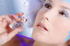 Ice queen face with diamond Stock Images