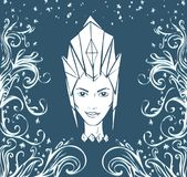 Ice Queen and frost patterns. Face of a woman in a crown vector illustration Stock Photography