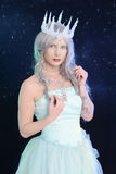 Ice queen with night sky Stock Images