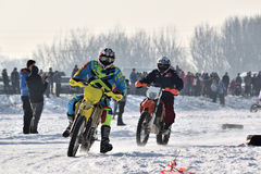 Ice Racing 2017, Januray 22, Santioana de Mures, Romania. Ice Racing 2017, local winter motorsport competition on a frozen lake in Santioana de Mures, Romania Royalty Free Stock Image