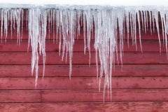 Ice on a Red Barn Royalty Free Stock Image