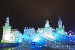 Ice replica of the Moscow Kremlin, Russia Royalty Free Stock Images
