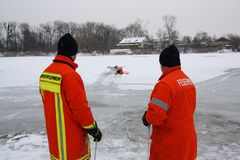Ice rescue Stock Photography