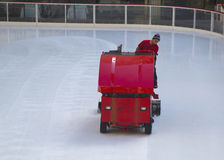 Ice resurfacing at the Ice  Rink at Rockefeller Center in midtown Manhattan Stock Photo