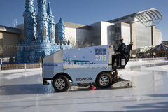 Ice resurfacing vehicle on an ice rink Stock Images