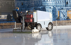 Ice resurfacing vehicle on an ice rink Royalty Free Stock Image