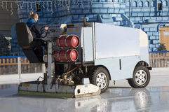 Ice resurfacing vehicle on an ice rink Stock Photos
