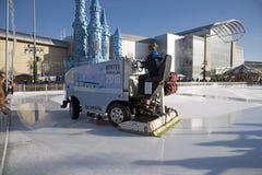 Ice resurfacing vehicle on an ice rink Stock Image