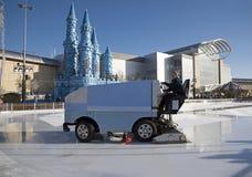 Ice resurfacing vehicle on an ice rink Royalty Free Stock Photo