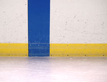 Ice rink. Scuffed up boards in an ice skating rink Royalty Free Stock Images