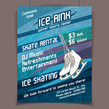 Ice rink advertising poster. On scratched ice winter vector background Royalty Free Stock Images