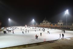 Ice Rink in Budapest Stock Photography