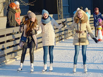 On the ice rink of the city. Stock Photos