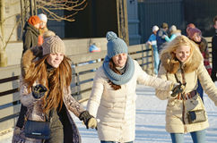 On the ice rink of the city. Royalty Free Stock Images