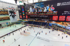 The ice rink of the Dubai Mall in Dubai, UAE. Royalty Free Stock Photography