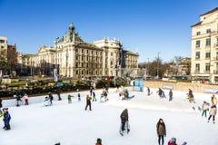 Ice Rink Eiszauber in Munich Stock Photos