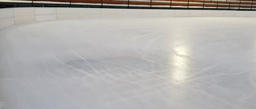 Ice rink floor surface background and texture in winter time, royalty free stock photos