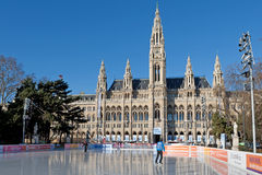 Ice rink in front of vienna city hall Stock Photography