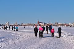 Luleå ice rink for recreation and cross-country skating. The ice rink goes from Northern Harbor around Gültzauudden to Södra Hamn and onwards to Grå royalty free stock images