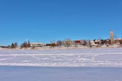 Luleås ice rink for recreation and cross-country skating. The ice rink goes from Northern Harbor around Gültzauudden to Södra Hamn and onwards to Grå royalty free stock images