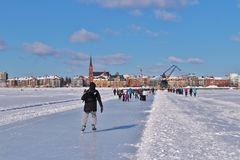 Luleås ice rink for recreation and cross-country skating. The ice rink goes from Northern Harbor around Gültzauudden to Södra Hamn and onwards to Grå royalty free stock photos