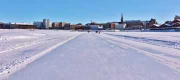 Luleås ice rink for recreation and cross-country skating. The ice rink goes from Northern Harbor around Gültzauudden to Södra Hamn and onwards to Grå stock photos