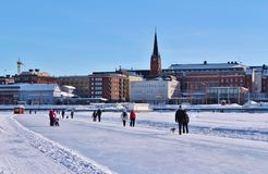 Luleås ice rink for recreation and cross-country skating. The ice rink goes from Northern Harbor around Gültzauudden to Södra Hamn and onwards to Grå stock images