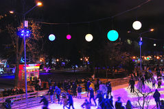 Ice rink in the Gorky park in Moscow Royalty Free Stock Photo