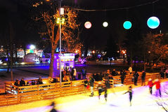 Ice rink in the Gorky park in Moscow Stock Photos