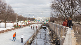 Ice rink in Gorky Park in Moscow Stock Image